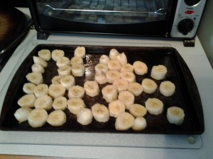 Banana slices on a cookie tray