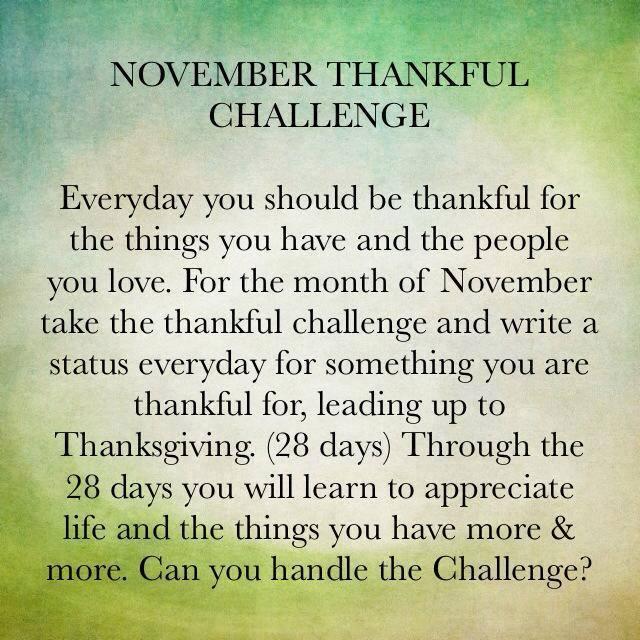 November Thankful Challenge Day 1