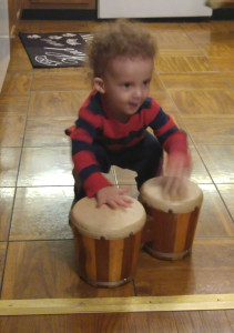 Playing the bongos!